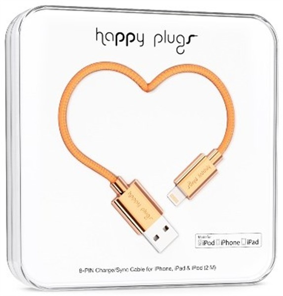Happy Plugs Lightning Charge/Sync Cable 2M Rose Gold