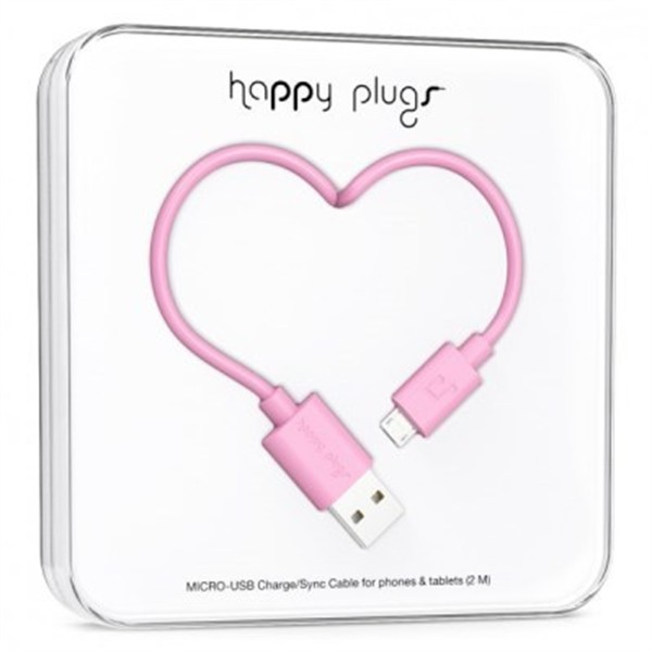 Happy Plugs Micro-Usb To Usb Charge/Sync Cable 2M Pink