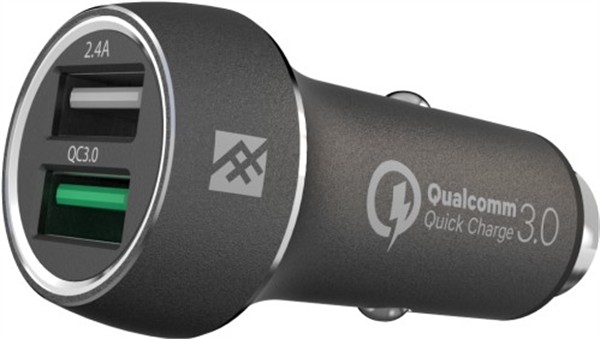 iFrogz Unique Sync Premium Dual Car Charger 2.4A QC 3.0 Black