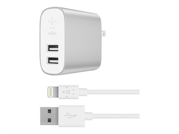 Belkin Dual Wall Charger Usb-A 2X2.4A With Lightning To Usb-A Cable