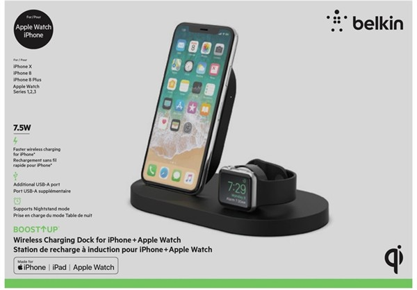 Belkin 7,5W Wireless Charge Dock For Iphone And Apple Watch Black
