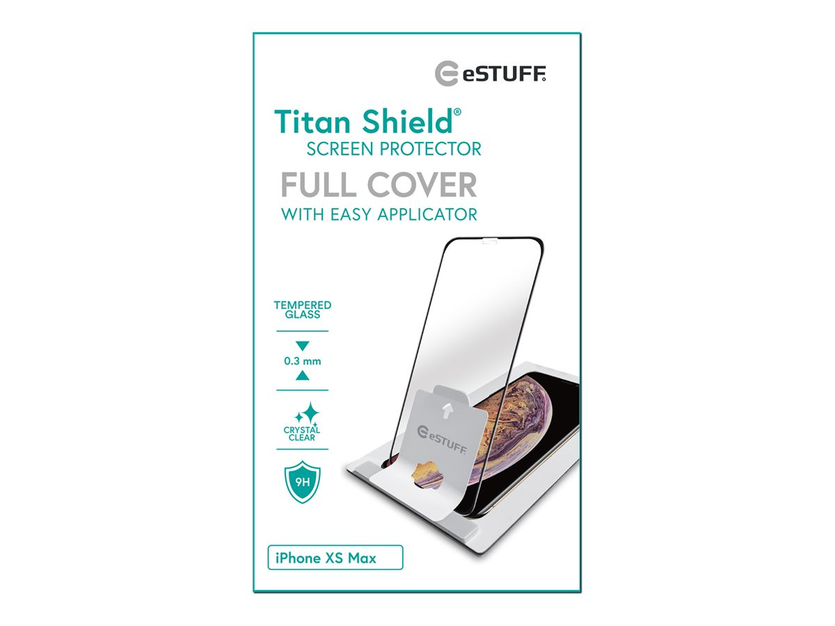 eSTUFF Titanshield iPhone Xs Max, Black Full Cover