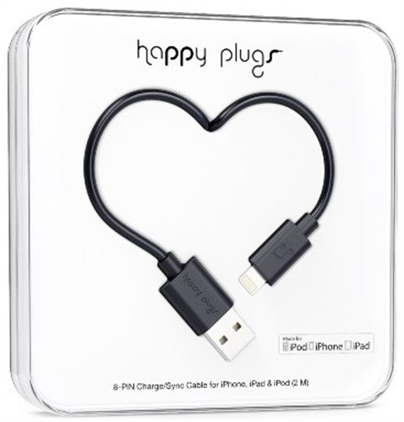 Happy Plugs Lightning Charge/ Sync Cable 2M Black