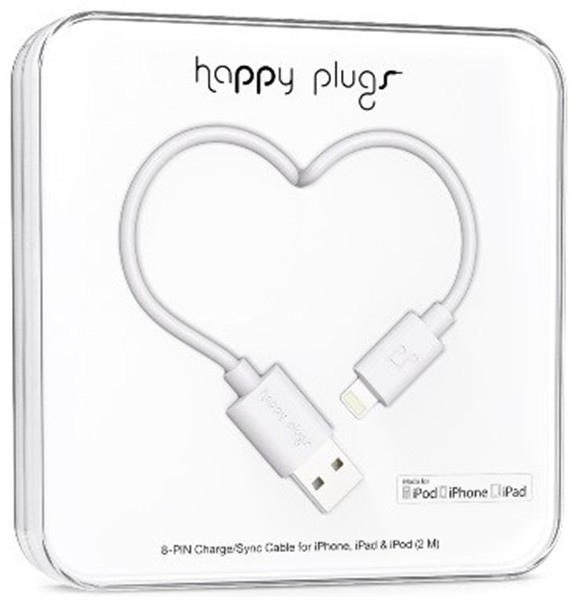 Happy Plugs Lightning Charge/ Sync Cable 2M White
