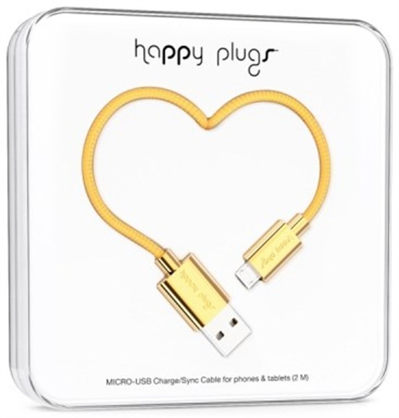 Happy Plugs Micro-Usb To Usb Charge/Sync Cable 2M Gold