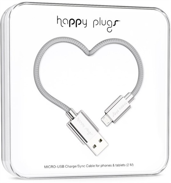 Happy Plugs Micro-Usb To Usb Charge/Sync Cable 2M Silver