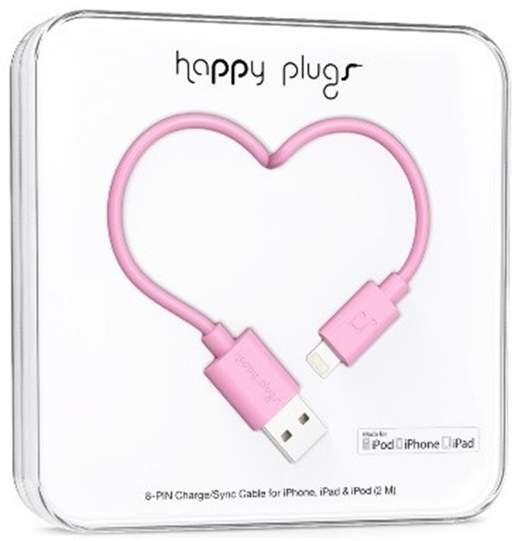 Happy Plugs Lightning To Usb Charge/Sync Cable 2M Pink