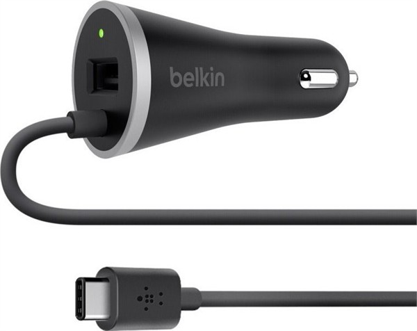Belkin Car Charger Usb-C With Usb-A Pass Through