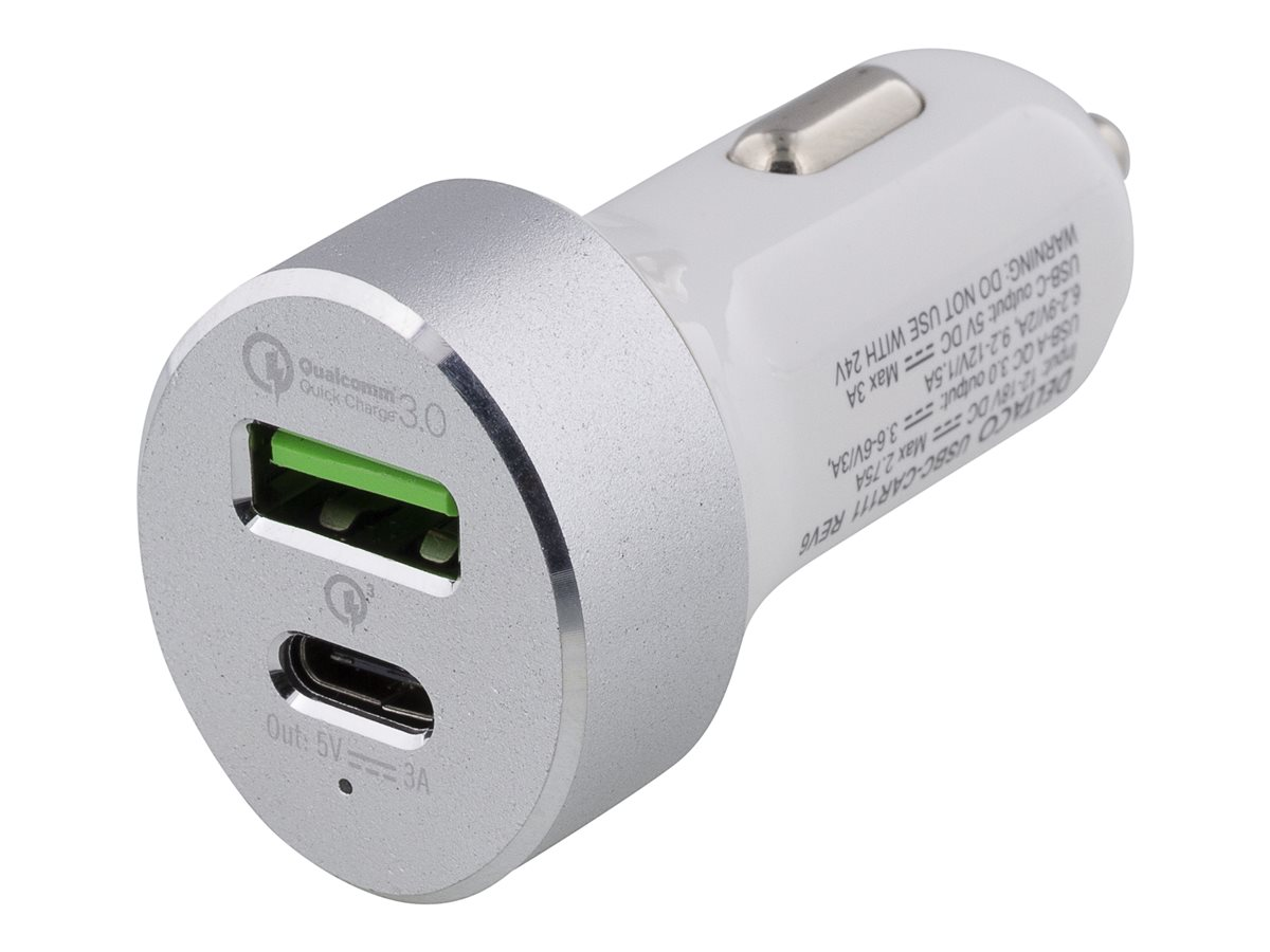 Deltaco Billaddare, USB-C, 33W, USB-C, QC 3.0, 12-18V DC, vit