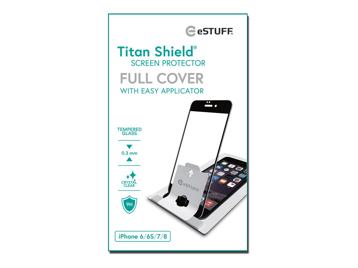 eSTUFF Titanshield iPhone 8,7,6s, Black Full Cover